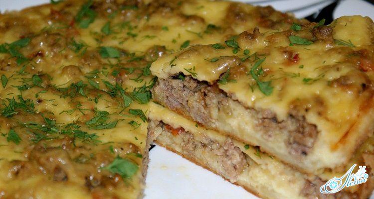 картофельная запеканка с фаршем и кабачками