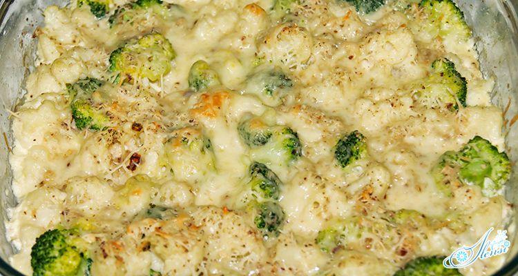 Запеканка с брокколи и цветной капустой