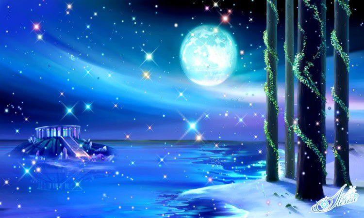 Луна над сказочным местом.