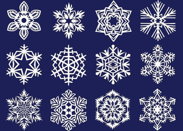 различные модели снежинок